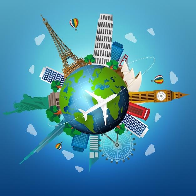 Pojęcie podróżowania ze słynnymi zabytkami świata Premium Wektorów
