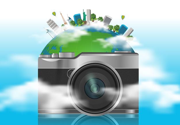 Pojęcie podróży. słynne zabytki świata Premium Wektorów