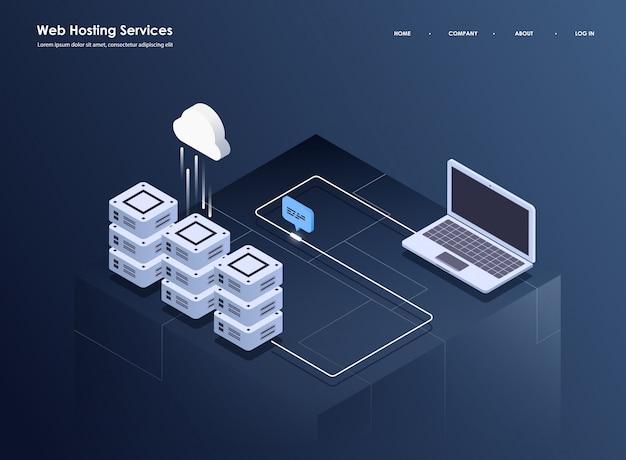 Pojęcie przetwarzania dużych danych, izometrycznego centrum danych, przetwarzania i przechowywania informacji wektorowych. kreatywnie ilustracja z abstrakcjonistycznymi geometrycznymi elementami. Premium Wektorów