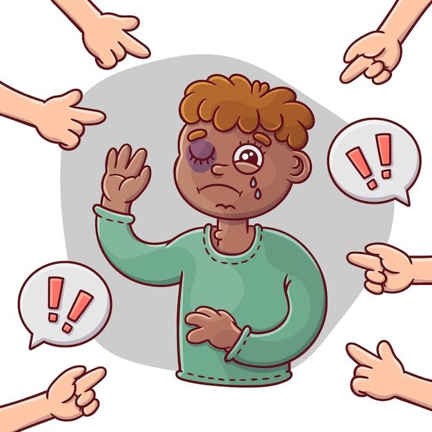Pojęcie Rasizmu Ilustrowane Smutnym Chłopcem Darmowych Wektorów