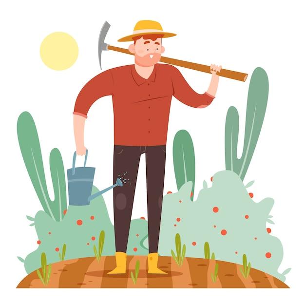 Pojęcie Rolnictwa Ekologicznego Z Mężczyzną Na Polu Darmowych Wektorów
