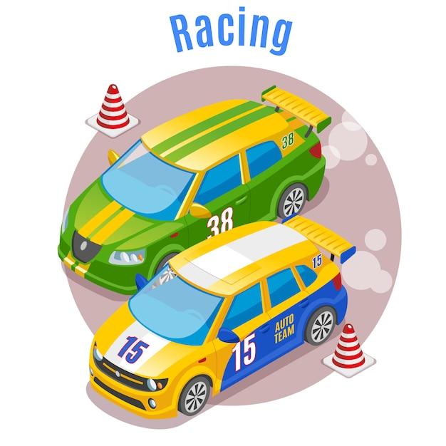 Pojęcie Sportu Wyścigowego Z Symbolami Torów Wyścigowych I Stożków Izometrycznych Darmowych Wektorów