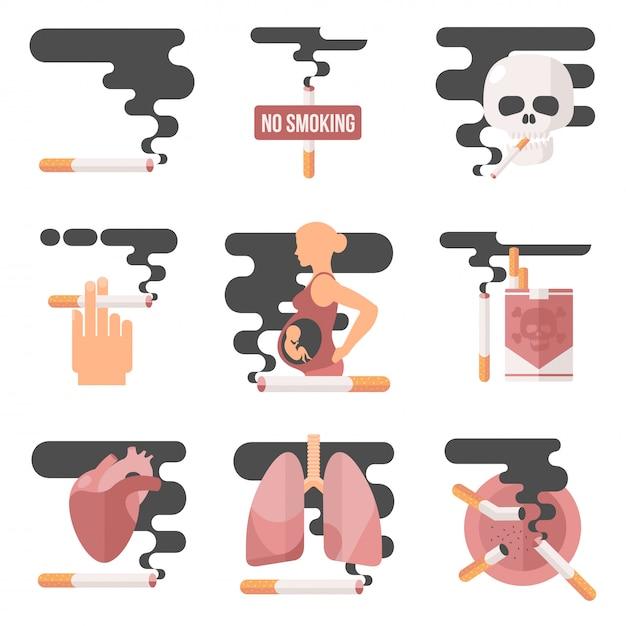 Pojęcie Spożycia Nikotyny, Palenie W Ciąży Premium Wektorów
