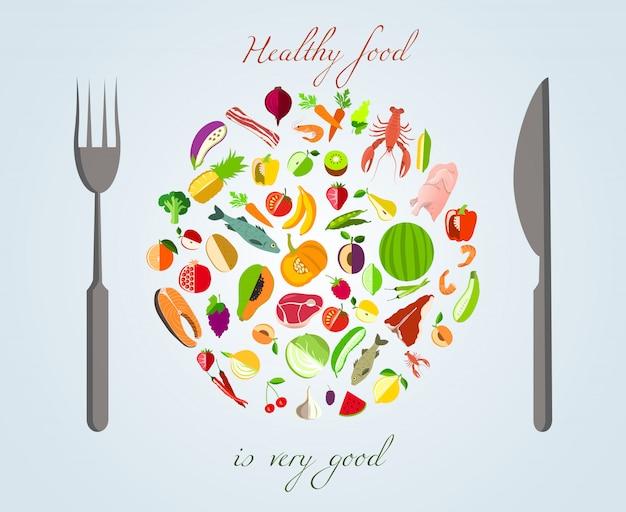 Pojęcie zdrowej żywności Darmowych Wektorów