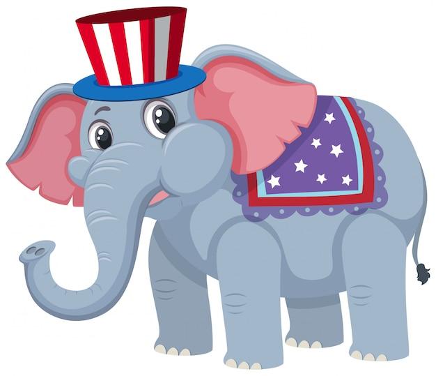Pojedyncza postać słonia cyrkowego Premium Wektorów