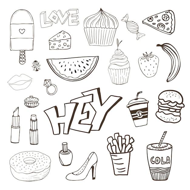 Pojedyncze Elementy Z Słodycze żywności I Dziewczęce Elementy Premium Wektorów