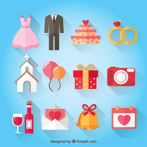 Pojedyncze kolory dodatki ślubne Darmowych Wektorów
