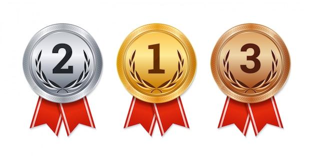 Pojedyncze Złote, Srebrne I Brązowe Medale Premium Wektorów