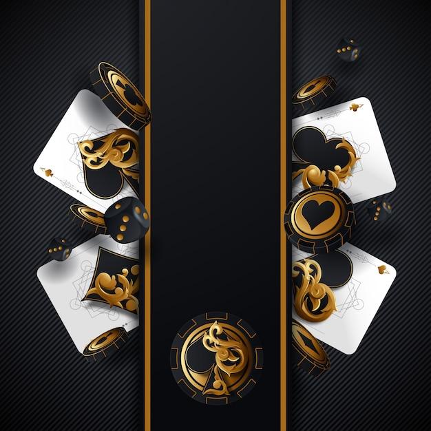 Poker W Kasynie. Falling Poker Cards And Chips Chips Concept. Kasynowy Szczęśliwy Tło Odizolowywający. Premium Wektorów