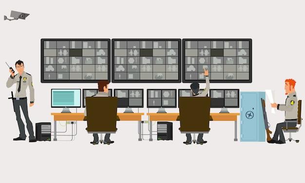 Pokój Bezpieczeństwa, W Którym Pracują Specjaliści. Kamery Monitorujące. Cctv Lub Koncepcja Systemu Nadzoru. Premium Wektorów