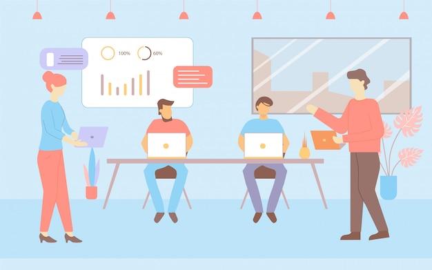 Pokój biurowy miejsce pracy cartoon mężczyzna kobieta praca talk Premium Wektorów