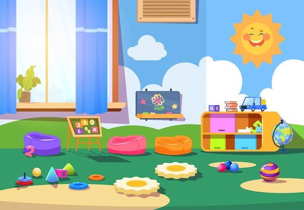 Pokój przedszkolny. pusty pokój zabaw z zabawkami i meblami. wnętrze pokoju zabaw dla dzieci kreskówki Premium Wektorów