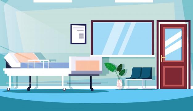 Pokój Szpitalny Wnętrze Z Wyposażeniem Premium Wektorów