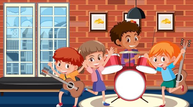 Pokój Z Dziećmi Grającymi Muzykę W Zespole Premium Wektorów