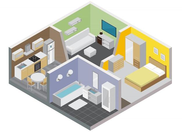 Pokoje Apartament Koncepcja Z Kuchnią łazienka Sypialnia I Salon Izometryczny Darmowych Wektorów