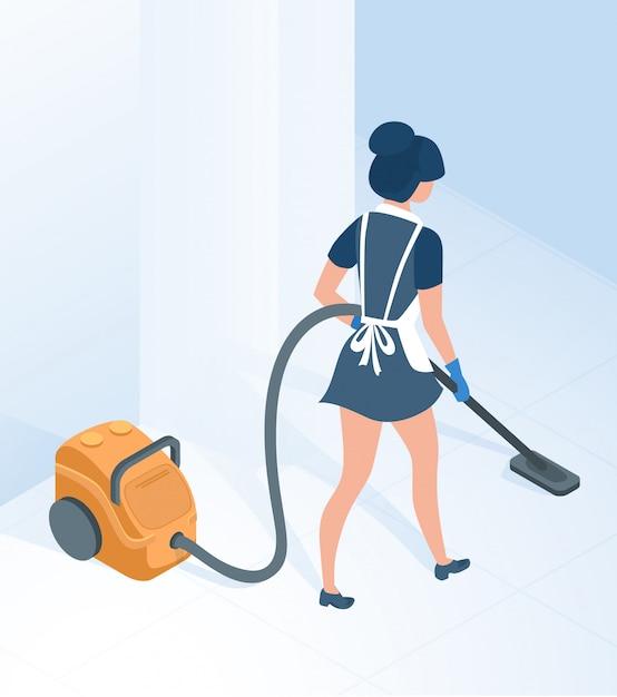 Pokojówka W Uniform Vacuuming Floor W Korytarzu Pokoju Premium Wektorów
