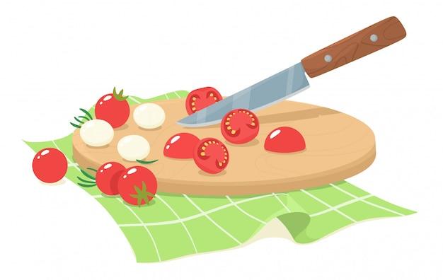 Pokrojone Pomidory Czereśniowe Z Mozzarellą I Liśćmi Rozmarynu. Plastry Pomidorów Cherry. Ilustracja W Stylu Płaski. Premium Wektorów