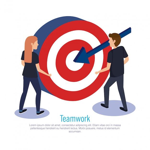 Połącz pracę zespołową z celem Darmowych Wektorów