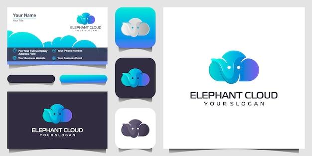 Połączenie Inspiracji Projektowej Logo Chmur I Słoni, Wizytówki Premium Wektorów