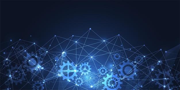 Połączenie Internetowe, Abstrakcyjne Poczucie Nauki I Technologii Projekt Graficzny. Ilustracji Wektorowych Premium Wektorów