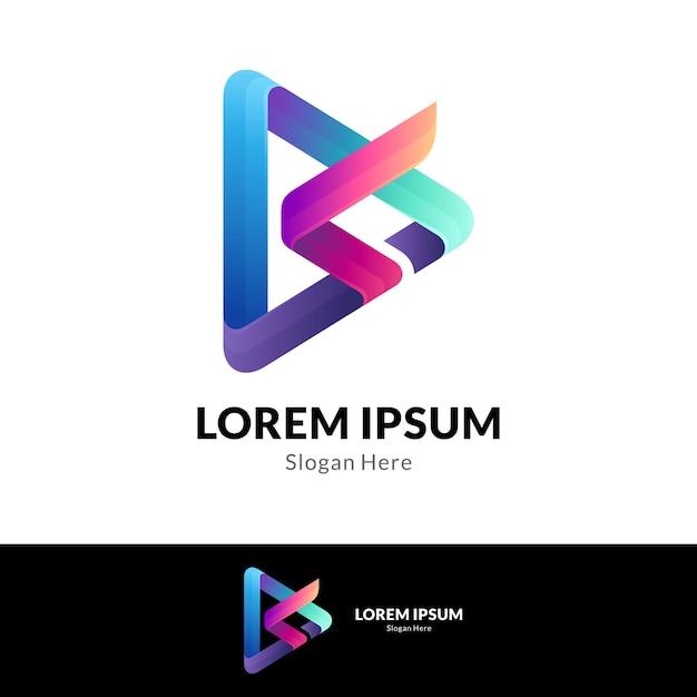 Połączenie Litery S Z Szablonem Projektu Logo Media Play Premium Wektorów
