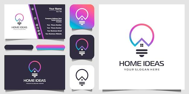 Połączenie Logo Domu I żarówki Ze Stylem Graficznym. Logo Linii Z Ikonami Budynku I Projektem Wizytówki Premium Wektorów