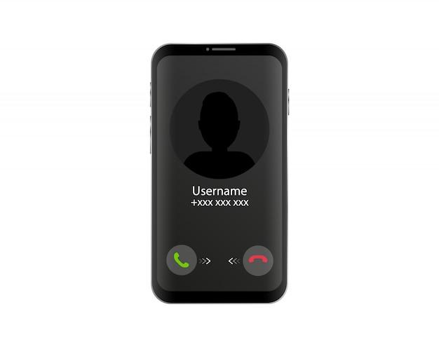 Połączenie Przychodzące Przez Telefon. Interfejs Telefonu Z Ekranem Połączenia. Płaski Styl. Premium Wektorów