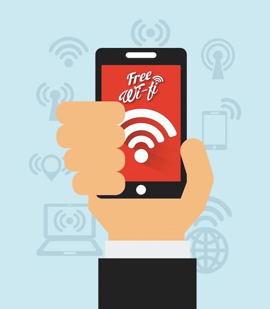 Połączenie wifi Premium Wektorów