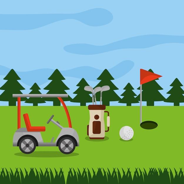 Pole golfowe samochód sport torba kluby piłka dziura flaga sosny Darmowych Wektorów