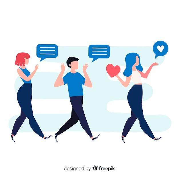 Poleć znajomemu koncepcję mediów społecznościowych Darmowych Wektorów