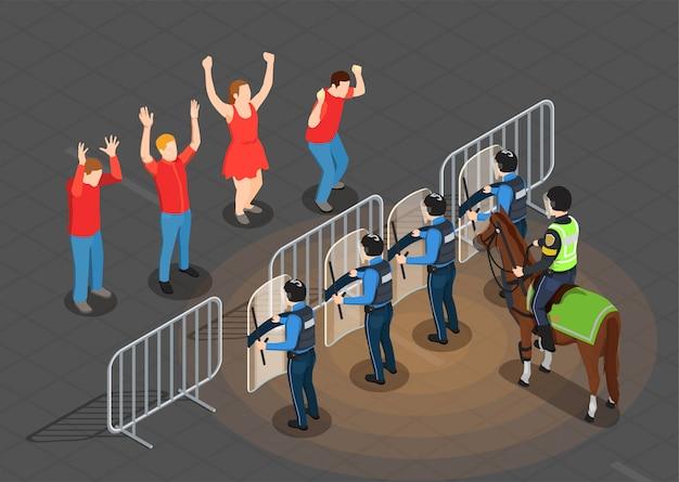 Policja I Ludzie Tło Izometryczny Darmowych Wektorów