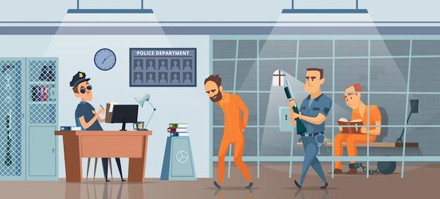 Policja. Mężczyzna Policjant W Swoim Gabinecie Miejsca Pracy I Pokoju Dla Więźniów Zdjęcie Premium Wektorów