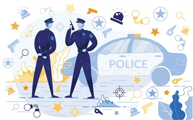 Policjanci Stojący W Pobliżu Samochodu Z Ikonami Premium Wektorów