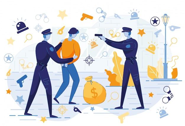 Policjanci Z Caught Criminal With Money Bag. Premium Wektorów