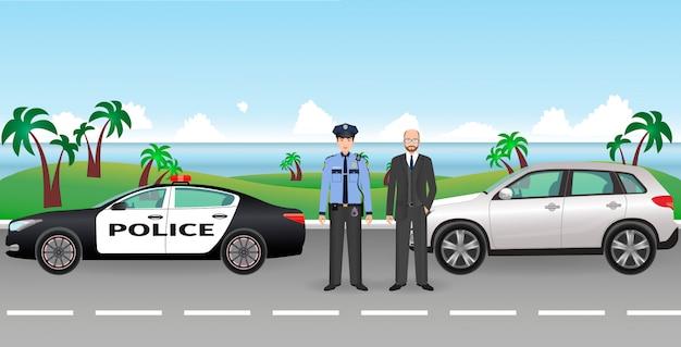 Policjant I Patrol Policji Na Drodze Z Zatrzymanym Samochodem I Kierowcą. Postacie Policyjne I Cywilne. Premium Wektorów