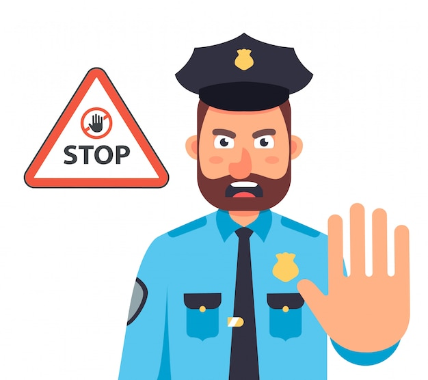 Policjant Z Ręką Zatrzymuje Ruch. Znak Stop W Trójkącie. Ilustracja Płaski Charakter. Premium Wektorów