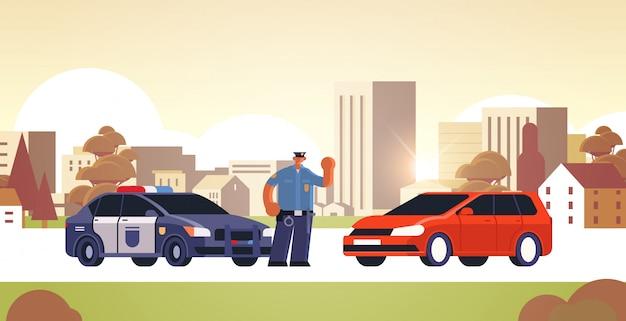 Policjant Zatrzymanie Samochodu Sprawdzanie Pojazdu Na Ruchu Drogowym Przepisy Bezpieczeństwa Koncepcja Gród Premium Wektorów