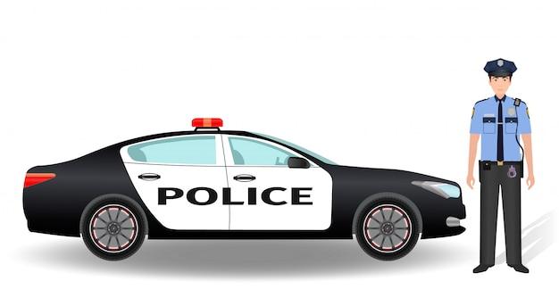 Policyjny Radiowóz I Policjanta Oficer Odizolowywający Na Bielu Premium Wektorów