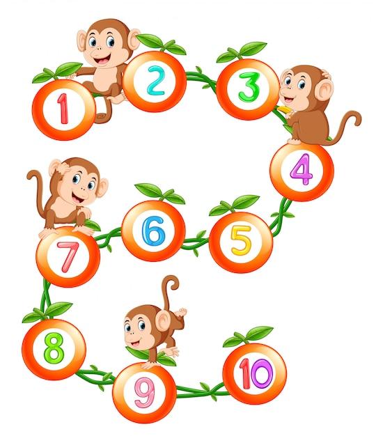Policzmy do dziesięciu z owocami i małpami Premium Wektorów
