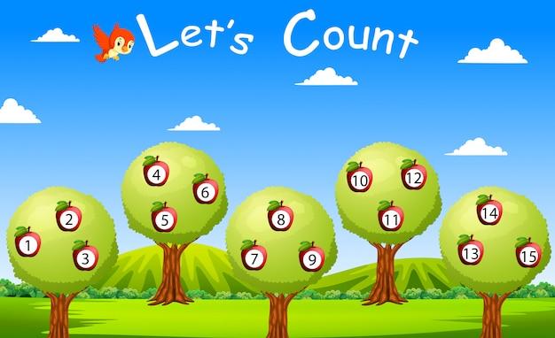 Policzmy do piętnastu z owocami i drzewami Premium Wektorów
