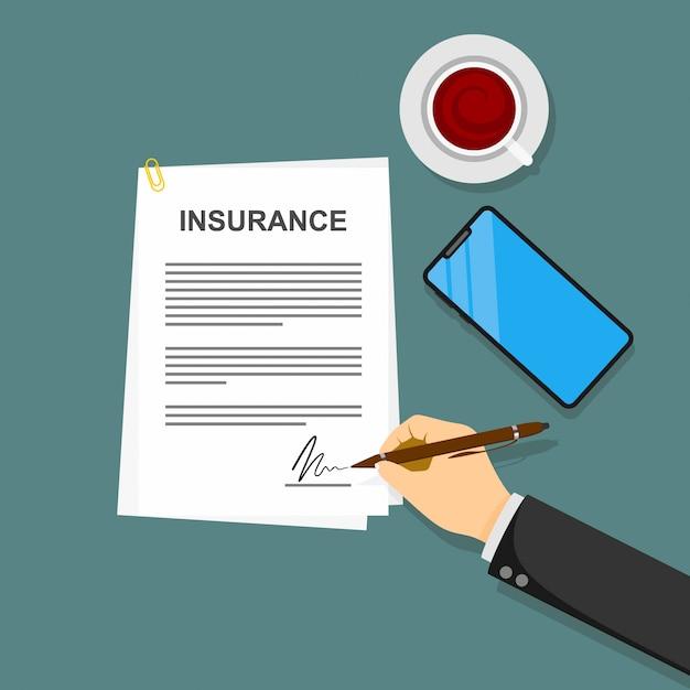 Polisy Ubezpieczeniowej Umowy W Ręku Płaski Ilustracja Premium Wektorów