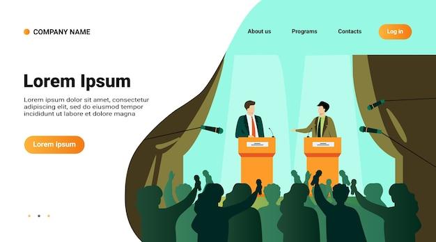 Politycy Rozmawiają Lub Debatują Przed Płaską Ilustracją Wektorową Publiczności. Kreskówka Męskich Głośników Publicznych Stojących Na Mównicy I Argumentując Darmowych Wektorów