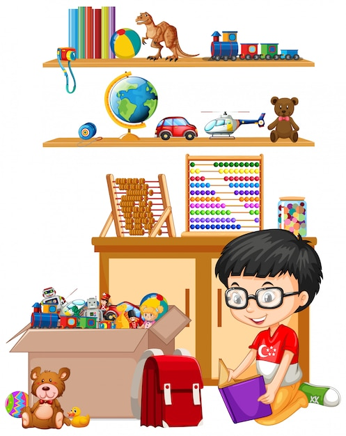 Półka I Pudełko Pełne Zabawek Na Białym Tle Darmowych Wektorów