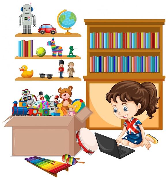 Półka I Pudełko Pełno Zabawki Odizolowywać Darmowych Wektorów