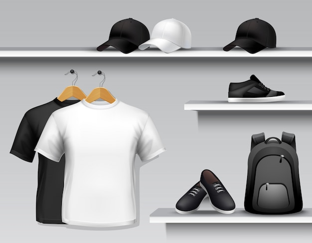Półka sklepowa z odzieżą sportową Darmowych Wektorów