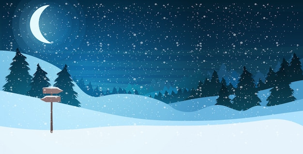 Półksiężyc W Jasnym Gwiaździstym Niebie Nocy Sosnowego Lasu Szczęśliwego Nowego Roku Wesołych świąt święto Uroczystości Koncepcji Premium Wektorów