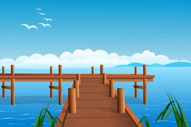 Połowu molo na ocean ilustraci Premium Wektorów