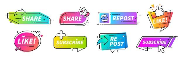 Polub I Udostępnij Baner. Przyciski Udostępniania I Ponownego Publikowania W Mediach Społecznościowych Dla Vlogów, Blogów I Kanałów Wideo. Marketing Firmy Vector Smm Zaleca Stylowe Ikony Wypełnień Dla Wypełnień Społecznościowych Premium Wektorów