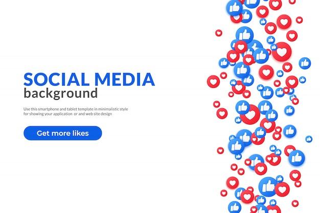Polubienia I Kciuk W Górę Emoji Podczas Podglądu Lądowania W Mediach Społecznościowych Premium Wektorów
