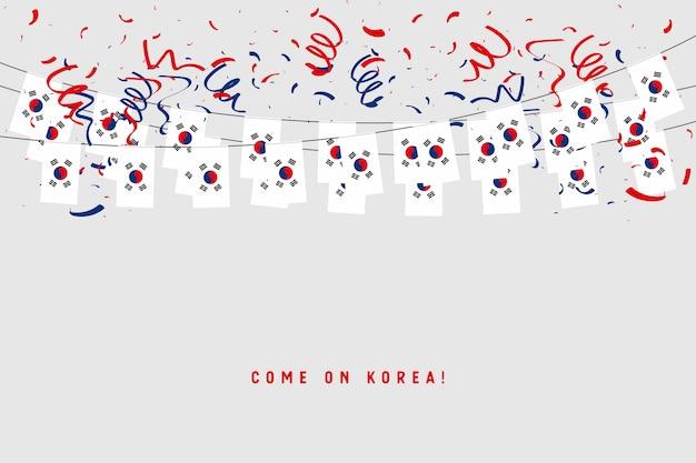 Południowa Korea Girlandy Flaga Z Confetti Na Popielatym Tle. Premium Wektorów